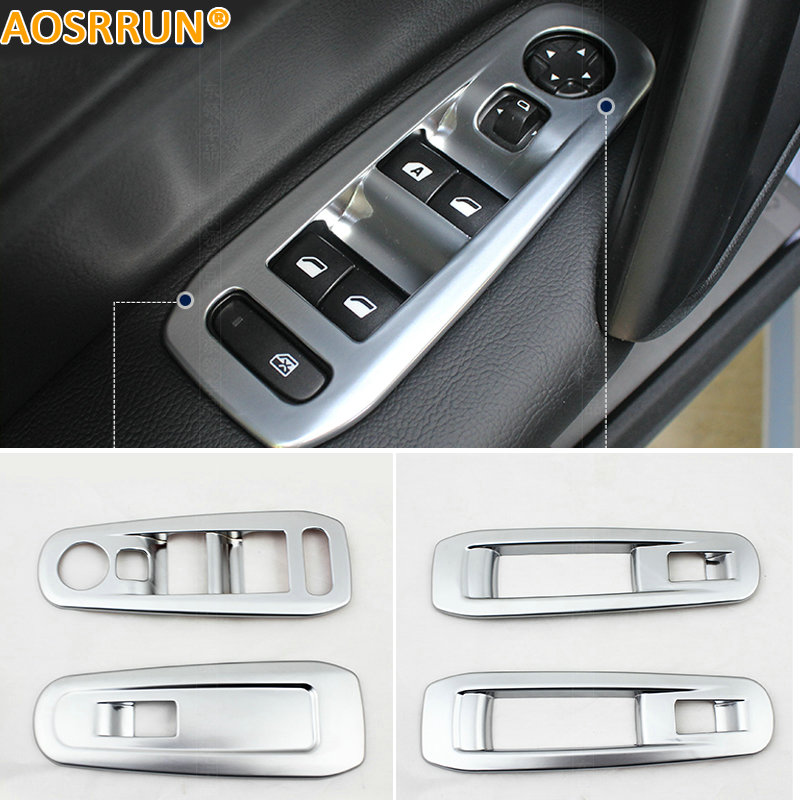 AOSRRUN Car Accessories ABS Windows Nt Decoration Sequins Cover ABS Chrome Plate For Peugeot 308 T9 2015 2016 2017