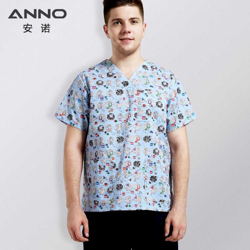 866d13167be ANNO Medical Clothes with Cartoon Sheep Nurse Uniform V Neck Scrubs Set for  Men Medical Uniforms
