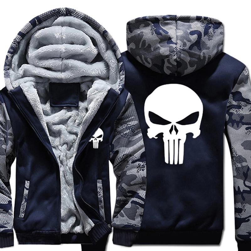 USA & EU Size Winter Warm Punisher Hoodies Hip Hop Comic Men Oversized Hoodie 2018 Zipper Swreetwear Sweatshirts Long Sleeve