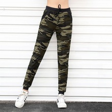 цена на Military Style Women Camouflage Print Pants Fashion Drawstring High Waist Slim Green Patchwork Pockets Wild Lady Pencil Pants