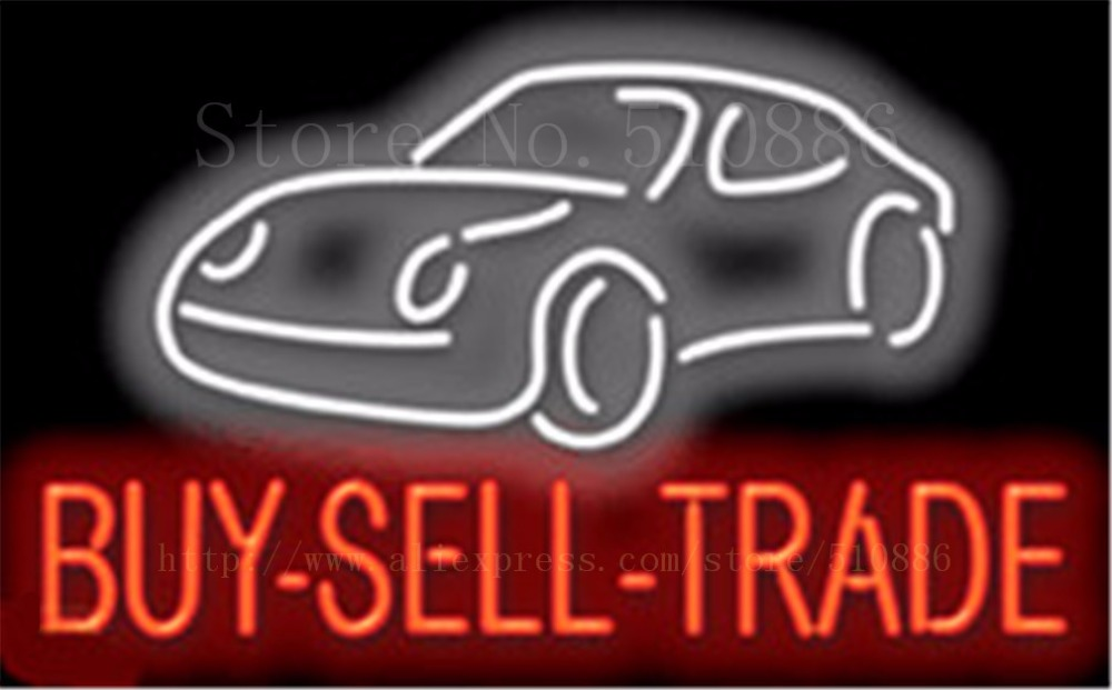"""Buy-Sell-Trade Auto Car Repair Real <font><b>Glass</b></font> Tube Car neon sign Handcrafted Automotive Shop Store Signs Signboard Signage 19\""""x15\"""""""