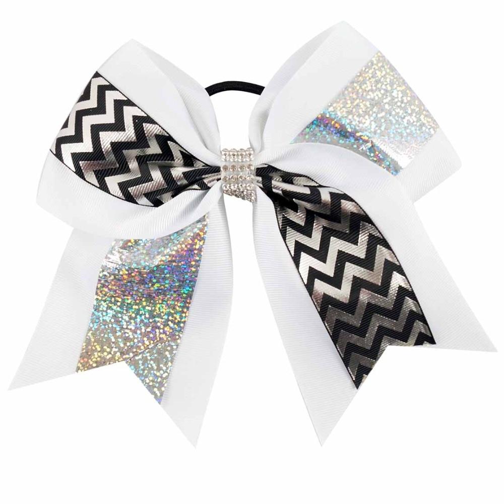 7 Inch Fashion Glitter Hair Bows Grosgrain Ribbon Printed Chevron Cheer Bow With Rhinestones Headband Ties For Girls