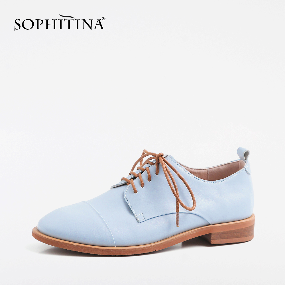 SOPHITINA New Ankle Strap Women Pumps Spring Casual Fashion Round Toe Low Square Heel Shoes Handmade