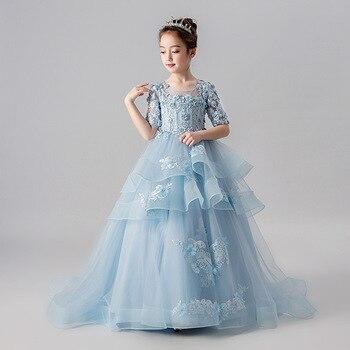 2019 New Lace Wedding Holy Dress the Flower Girl Zipper Party the Banquet Party Show Ball Dress Vestidos De Fiesta