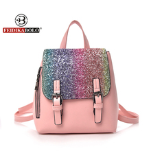패션 여성 가죽 가방 다채로운 스팽글 십대 소녀에 대한 작은 Schoolbags 캐쥬얼 PU 일일 배낭 우아한 여성 가방
