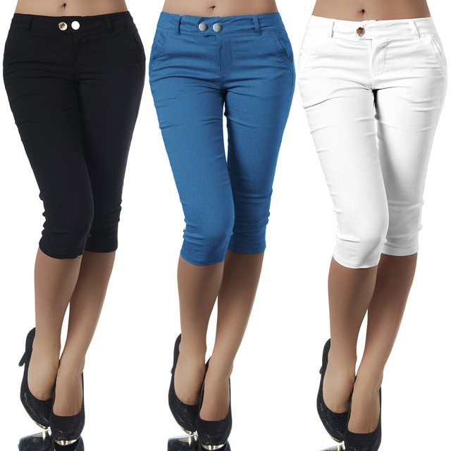 6e4972af67da4 Plus Size Casual 3 4 Length Skinny Pants Womens Ladies Cropped Stretch  Leggings Trousers Pencil Capris Elastic Cotton Capri Pant