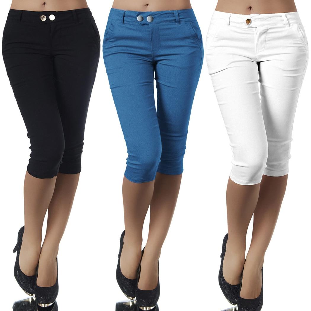 Plus Size Casual 3/4 Length Skinny   Pants   Womens Ladies Cropped Stretch Leggings Trousers Pencil   Capris   Elastic Cotton Capri   Pant