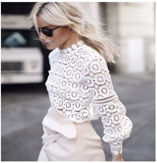 2016 New Arrive High Quality Lace Tops Flower Crochet Lace Blouse