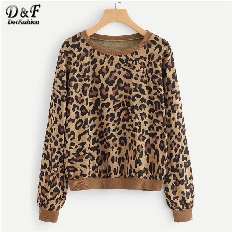 Well-Educated Dotfashion Leopard Print Sweatshirt Womens Clothing High Quality Women Fashion 2019 Autumn Casual Female Long Sleeve Pullovers Delicacies Loved By All Hoodies & Sweatshirts