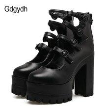 ФОТО gdgydh spring autumn gladiator shoes woman thick heel platform female single shoes sexy buckle women pumps high heels black