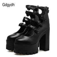 Gdgydh Spring Autumn Platform Shoes Woman Thick Heel Female Single Shoes Ankle Strap Sexy Buckle Women Pumps High Heels Black