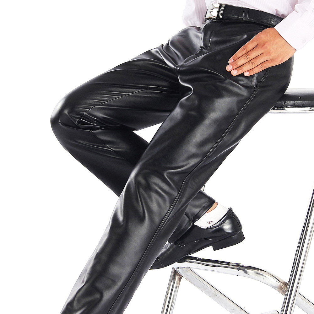 Thoshine Brand Summer Men Leather Pants Elastic High Waist Lightweight Casual PU Leather Trousers Thin Motor Pants Plus Size