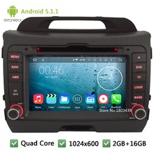Quad Core 16GB Android 5.1.1 2Din 8″ HD 1024*600 WIFI FM BT RDS Car DVD Player Radio Stereo Screen For KIA SPORTAGE R 2010-2015