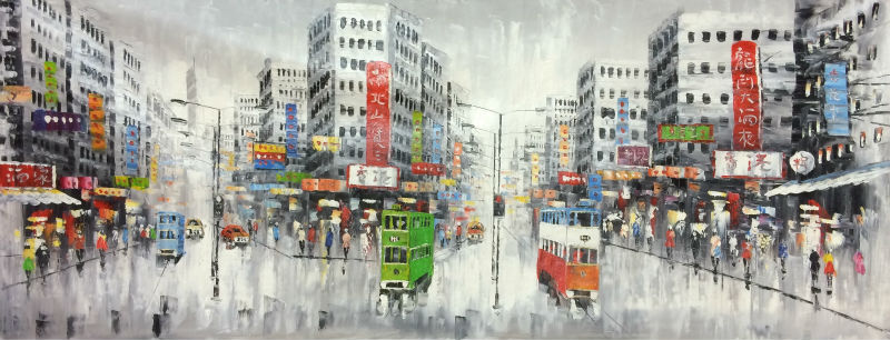 Hand Painted Oil Painting on Canvas Abstract Hong Kong Trams Street Canvas Painting Wall Art Picture Paiting for Home Decoration in Painting Calligraphy from Home Garden