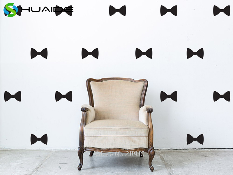 Bow Tie Pattern Mini Wall Decals Removable DIY Wall Stickers For Kids Room Girl Bedroom Baby Nursery Wall Art Mural A546