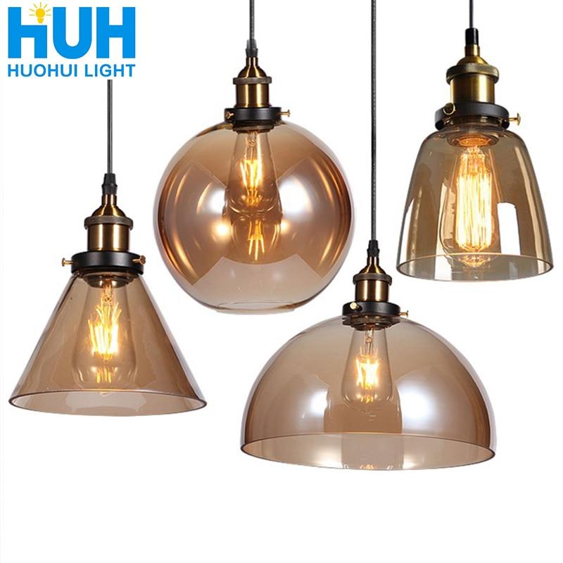 Vintage Pendant Lights American Amber Glass Pendant Lamp E27 Edison Light Bulb Dinning Room Kitchen  Home Decor Planetarium Lamp