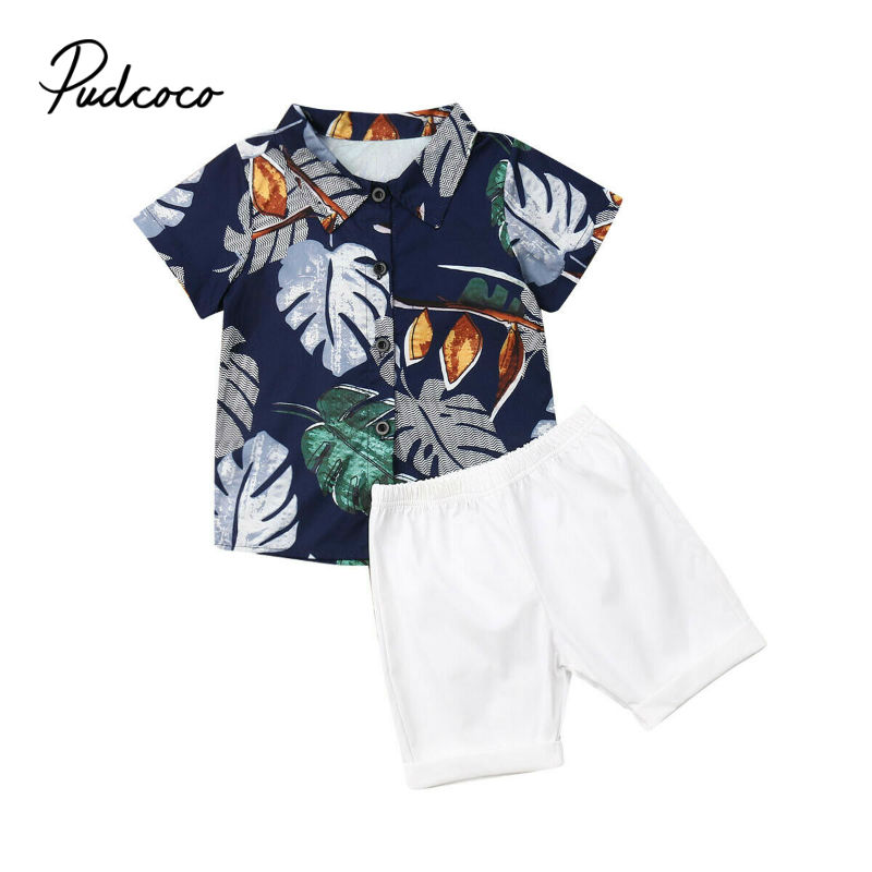 pudcoco Boys Clothing Sets Summer Baby Boys Clothes Suit Gentleman Style Shirt +Short 2pcs Clothes for Boys Summer Set