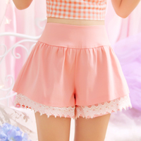S L Summer Women Candy Color Shorts Cute Kawaii Young Girl Lace Hem Sweet Princess Pink