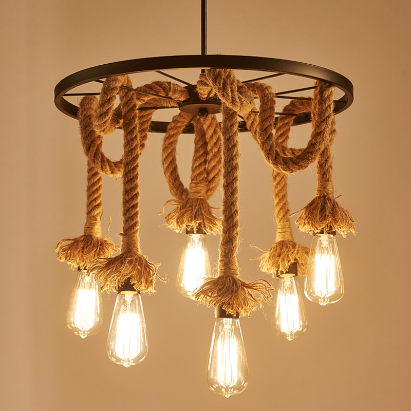 Industry 6 Heads Loft Chandelier Edison E27 Lights Hemp Rope Pendant Lamp Bar Restaurant Cafe Dining Room Living Room Droplight