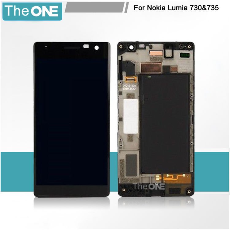 Free DHL Replacement For Nokia Lumia 730 735 LCD Display With Touch Digitizer Screen Complete Assembly With Frame 5 pcs free dhl ems shipping replacement lcd display with touch screen digitizer frame for nokia lumia 730 735 lcd assembly tools