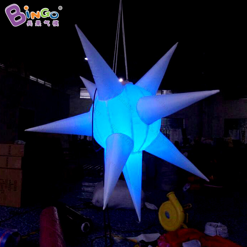 Customized Hot sale 3 ft Hanging inflatable star with colorful light/various color of lighting star decoration for party event