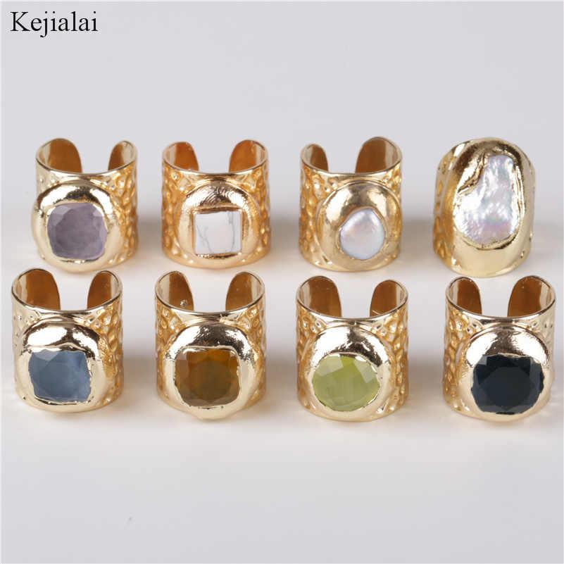 บิ๊กสแควร์หลายสีกึ่งมีค่าหิน & pearl bead charm wrap ปรับกว้าง gold เปิดแหวนค้อนทุบ cuff สำหรับผู้หญิง man