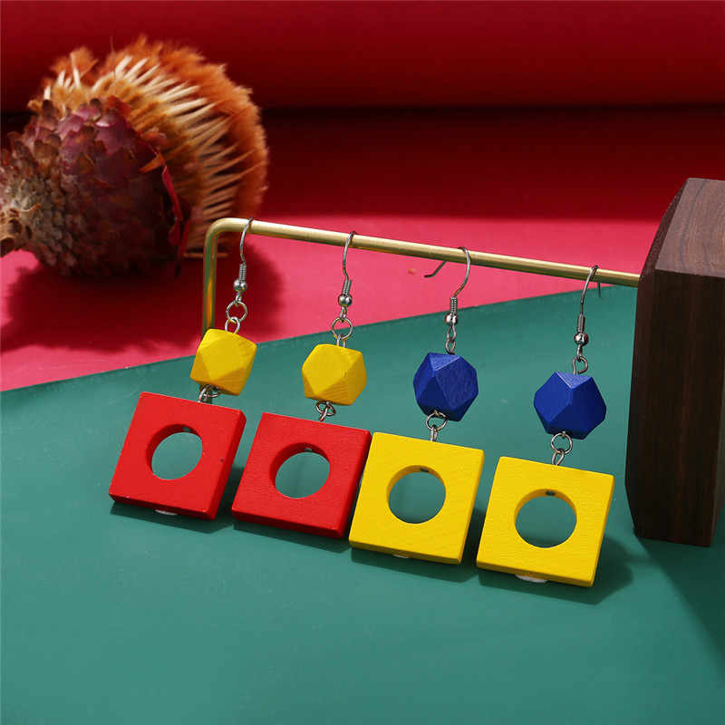 17KM Fashion Geometric Square Wood Pendant Earrings For Women 2019 Trendy Red Blue Yellow Earring Handmade Female Party Jewelry