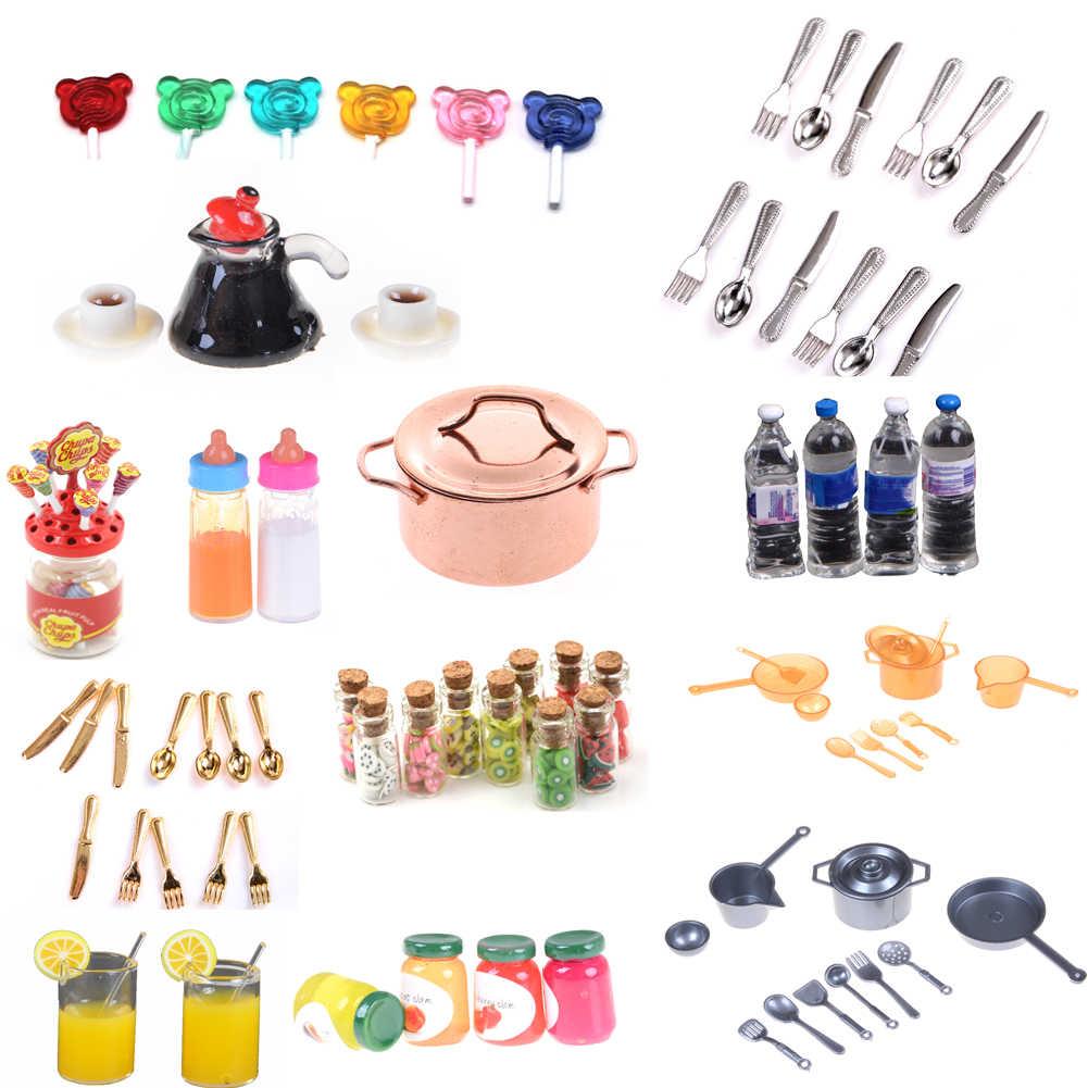 Poppenhuis Miniatuur Plaat Jam Drink Cup Schotel Kom Servies Set Speelgoed Pop Voedsel Keuken Woonkamer Accessoires
