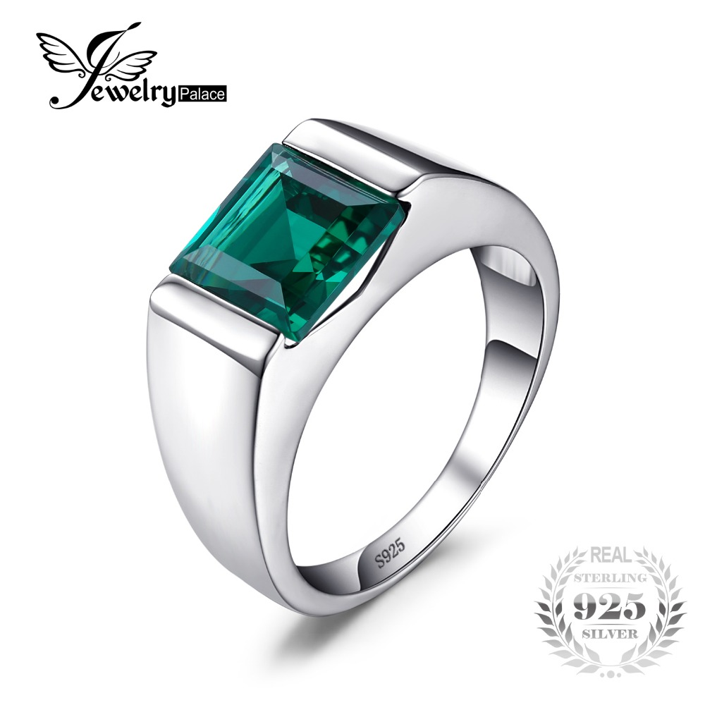 JewelryPalace Classic Fashion 2.34ct Emerald Wedding Ring For Mens Set Genuine 925 Solid Sterling Sliver Fine Jewelry