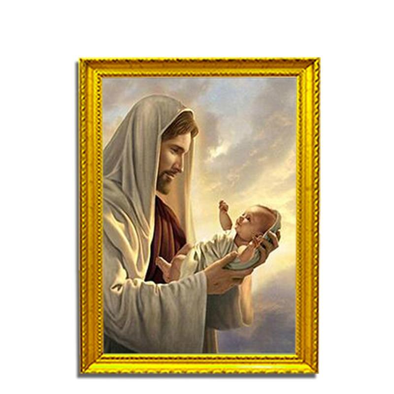 Jesus Loves Children Diamond Painting Mosaic Embroidered Full Art Cross-Stitch Religious Idol