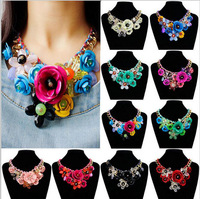 2016 Fashion Spring And Summer Sweet Small Fresh Flower Necklace Female Short Paragraph Colored Flowers Necklace