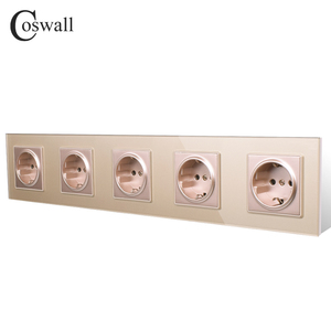 Image 2 - COSWALL Wall Crystal Glass Panel 5 Gang Power Socket Grounded 16A EU Standard Quintuple Outlet With Children Protection Door
