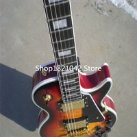 Wholesale Free Shipping Bloody Romance red wavy top Custom Electric Guitars lp High Quality Ebony Newest Gold accessories