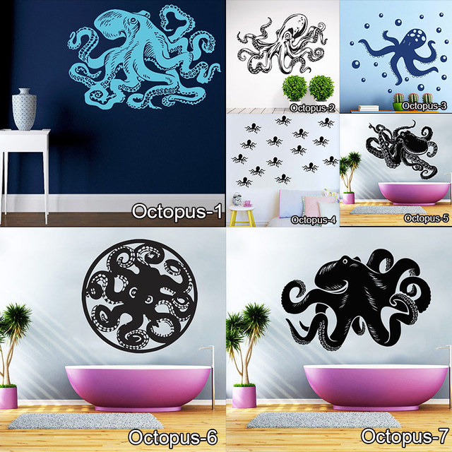 OCTOPUS Wall Art Stickers Black Wall Stickers For Kids Room Baby Wall Decals  Vinilos Paredes Waterproof