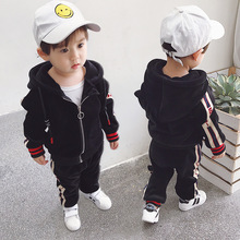 Boys 2-8 Years Autumn Casual Sports Zipper Cardigan 2 PCS Set (Hoodie+ Long Pant) Fashion Striped Thicken Fleece Hoodies Suits