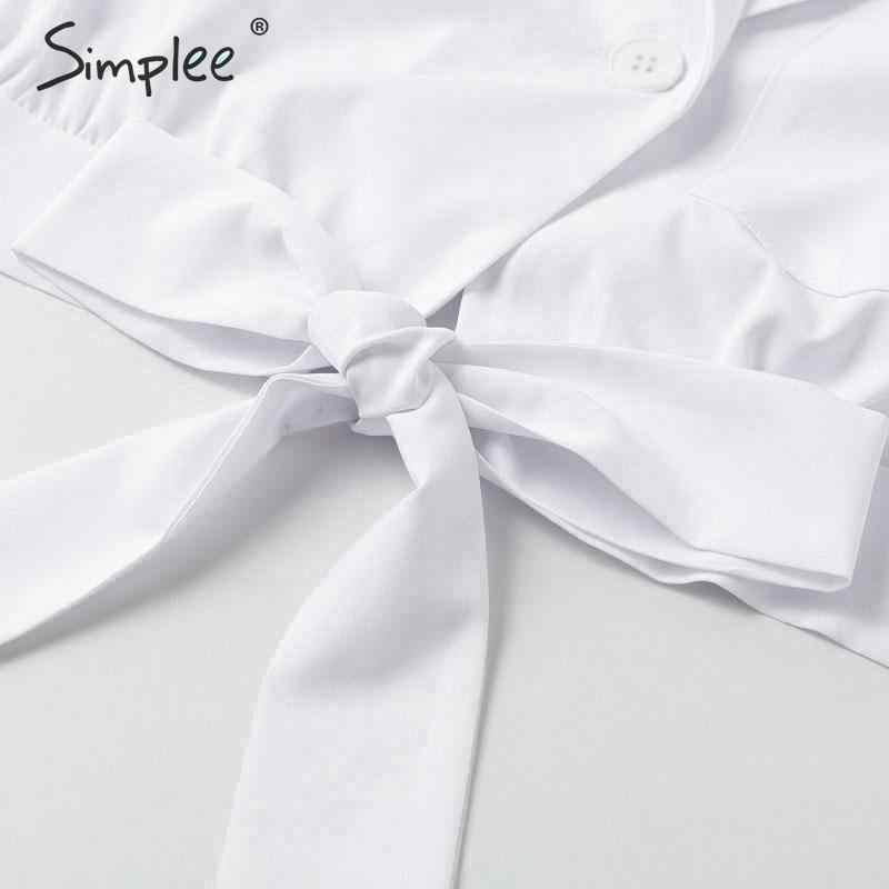 Simplee قميص نسائي أبيض مثير بأكمام طويلة بأزرار علوية 2019 بلوزات وبلوزات صيفية ملابس خروج عصرية قطع علوية قصيرة للسيدات صلبة