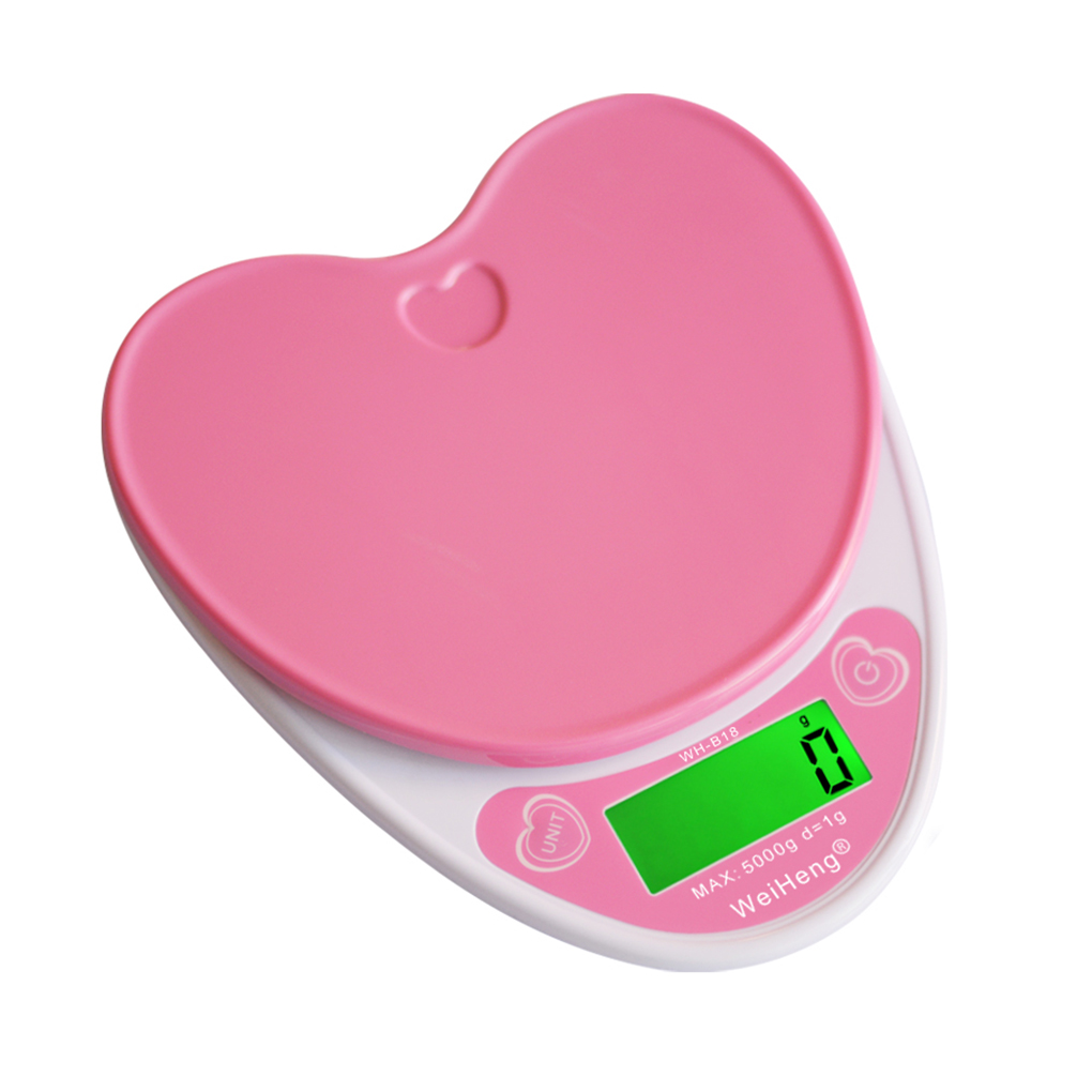 5kg/1g Lovely Heart Shaped Digital Kitchen Scales LCD Food Electronic Scales Cooking Diet Weighing Bench