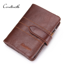 CONTACT'S Men Wallet 100% Genuine Leather Wallet Delectable Zip Coin Pocket Men Purse High Class Money Bag Credit Card Holders