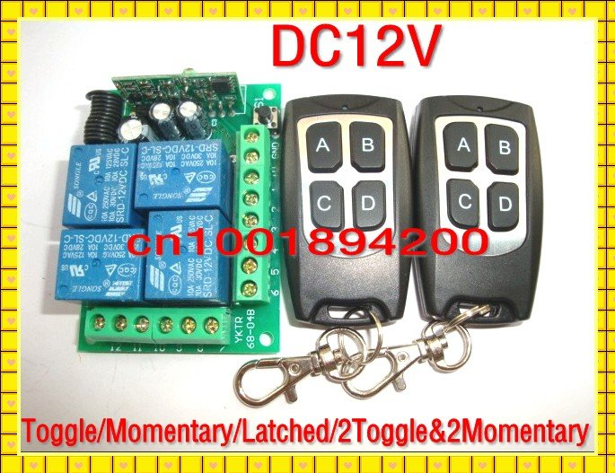 DC12V 4CH Wireless Receiver&Transmitter Momentary Toggle Latched  RF Remote Control Switch System Access system Light ON OFF new rf wireless switch wireless remote control system 2transmitter 12receiver 1ch toggle momentary latched learning code 315 433