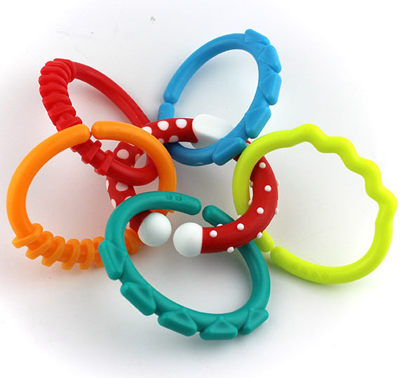 Baby Diy Teether BPA Free Chewable Teething Rainbow Molars Chain Ring Apron Grasping Cute Sensoriel Toys For Kids  0-12 Months