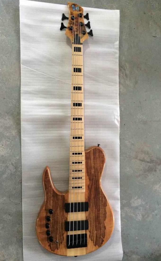 New One Piece Neck Through Body 5 String Electric Bass guitar In Left Handed 5 strings made of Ash in Natural 140815 custom shop emerald green quilted body modulus bass quantum 5 string electric bass guitar china left handed available