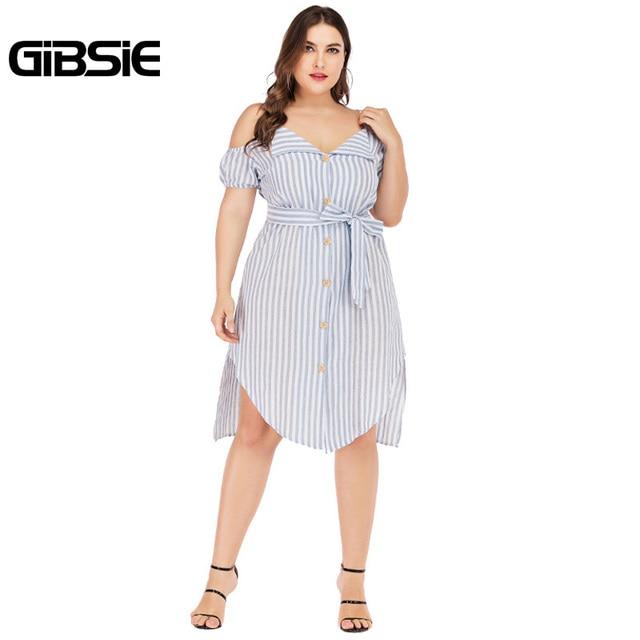 GIBSIE Plus Size Button Front V-neck Spaghetti Strap Striped Midi Dress 2019 Summer Women Boho Casual Irregular Dress with Belt 5