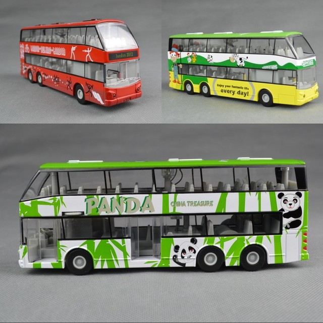 Acoustooptical WARRIOR alloy double layer big bus bus toy car model