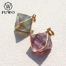 FUWO pendentifs en forme de pyramide en Fluorite sculpté, haute qualité, en or 24K, bijoux en pierres précieuses brutes, PD079, vente en gros