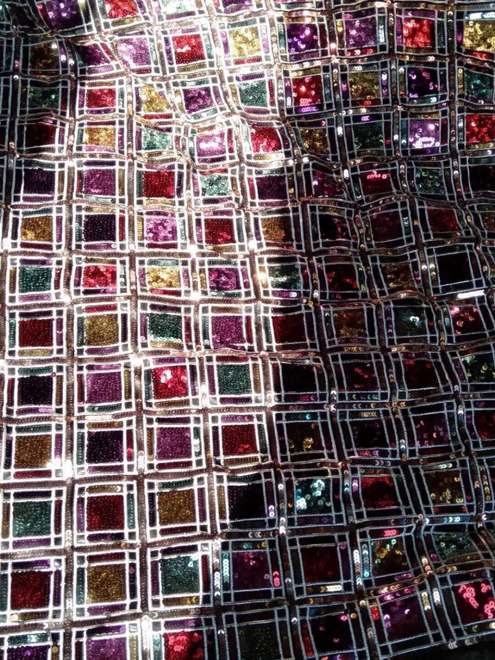 CiCi 3 402 Hot selling african sequins lace fabric tessel fringel embroidered tulle mesh lace fabric