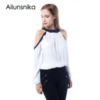 Ailunsnika Summer Chiffon Blouse Women Black White Off Shoulder Long Sleeve Shirts Sexy 2017 Blusas Tops