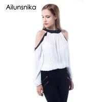 Ailunsnika Summer Chiffon Blouse Women Black White Off Shoulder Long Sleeve Shirts Sexy 2017 Blusas Tops