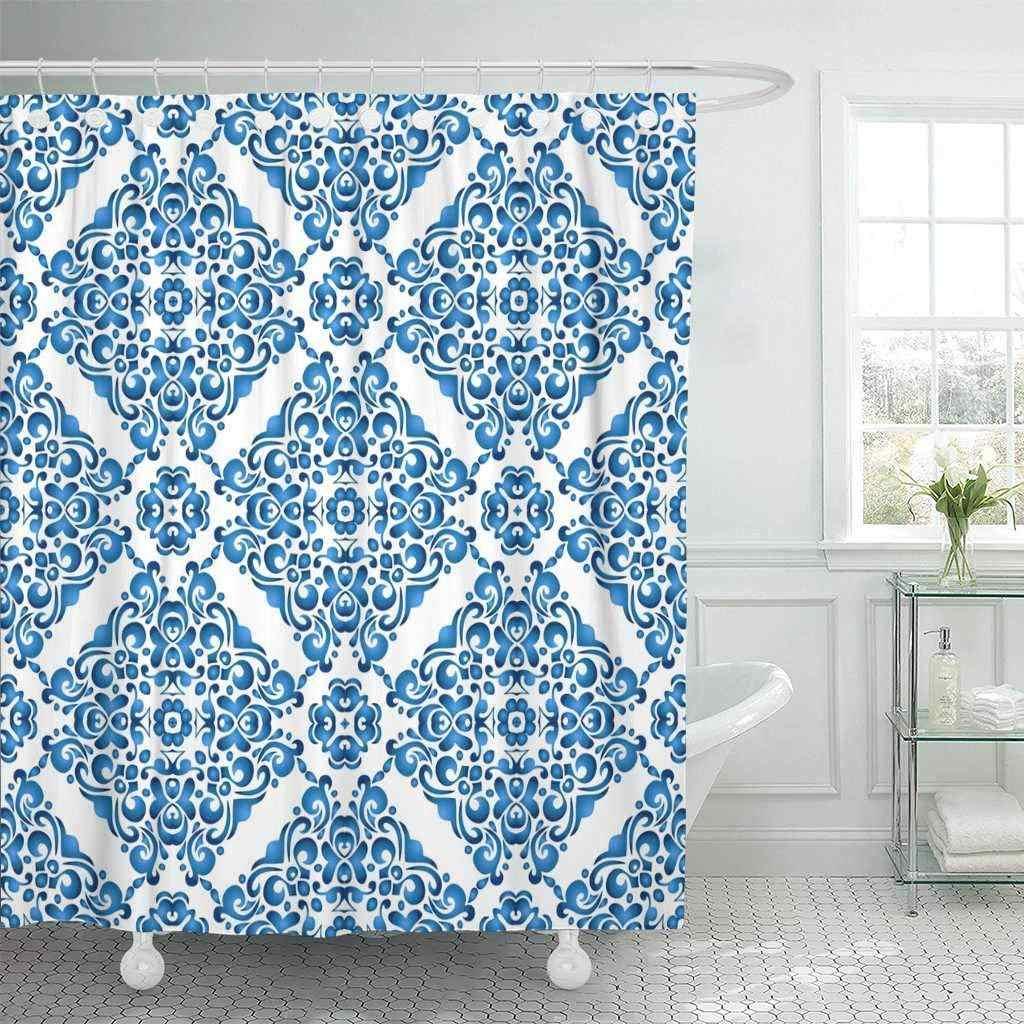 Shower Tirai dengan Kait Biru Baroque Abstrak Hias Pola Cat Air Ikat Arabesque Warna Karpet Damask Dekorasi Kamar Mandi