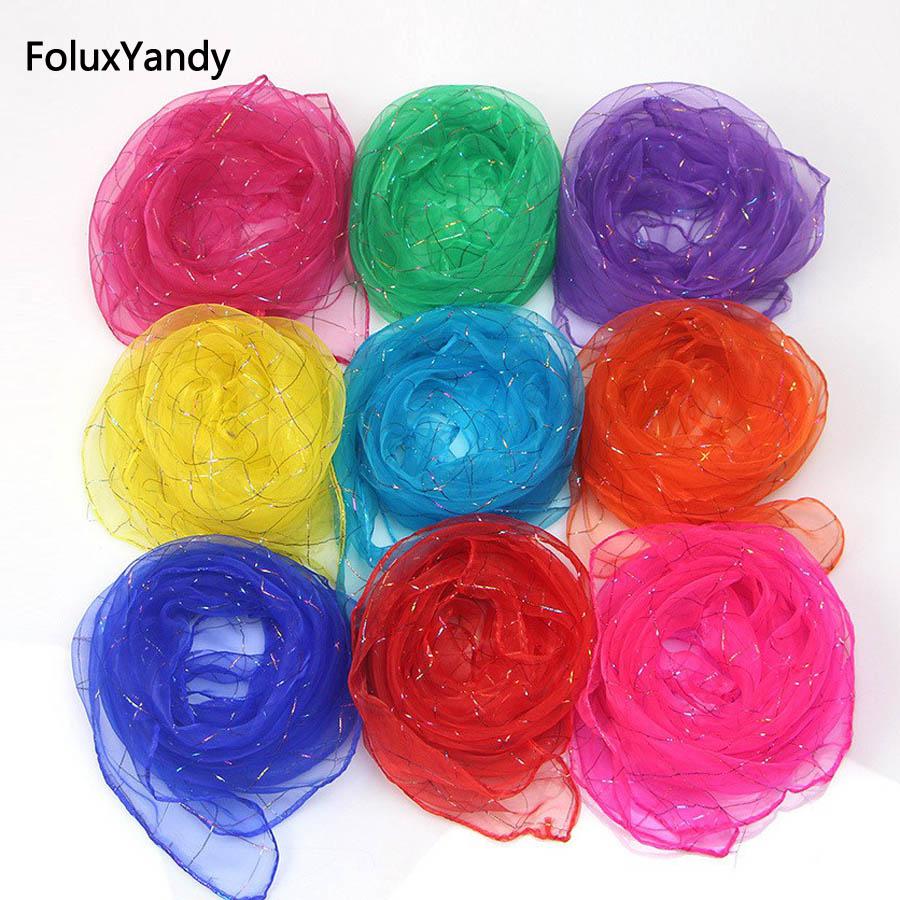 6 Colors Fashion Chiffon Scarf Square Headwear Women Shinny Plaid Thin Summer Scarves PYWJ12CN