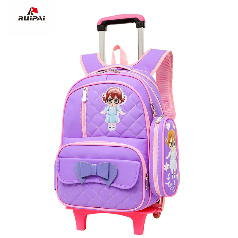 waterproof children School Bag Trolley school backpack Girls Wheels Travel Luggage backpack kids Rolling detachable schoolbags рубашка мужская tom tailor цвет серый 2032745 00 12 2802 размер xl 52